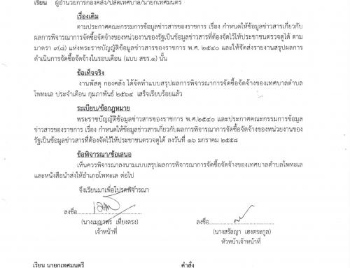 รายงานสรุปผลการดำเนินงานจัดซื้อจัดจ้าง (สขร.1)